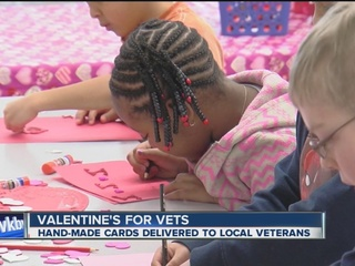Kids make Valentine's Day cards for vets