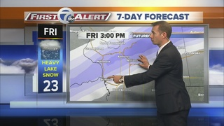 Where lake effect snow will be falling on Friday