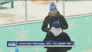 Couple gets engaged at Canalside