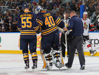 Sabres goalie Lehner done for season