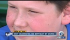 Boy celebrates his birthday by giving back
