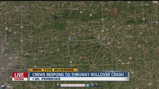 Driver flips, crashes in trees off Thruway