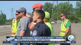 First responders take hazmat classes on a train