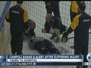 Sabres camp invite taken off ice on stretcher