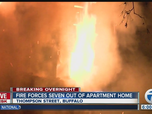 Fire forces seven people out of a Buffalo apartment home
