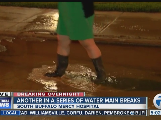 Water main break outside South Buffalo Mercy Hospital