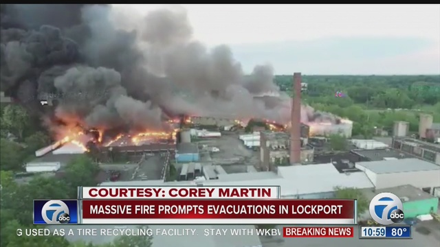 Hundreds evacuated due to fire at NY tire recycling plant