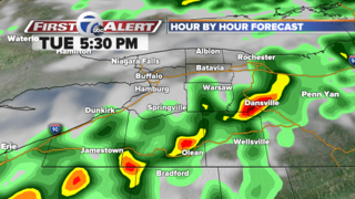 Few gusty t-storms in the Southern Tier Tuesday