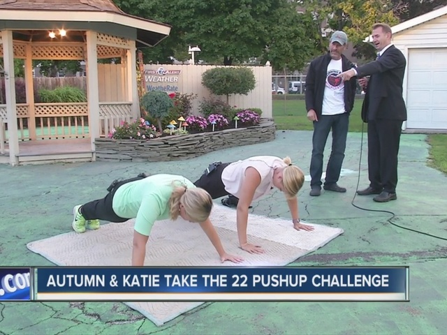 Katie and Autumn try the 22 Pushup Challenge