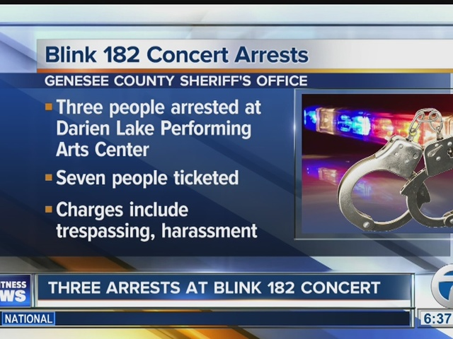 Three people arrested at Blink 182 concert
