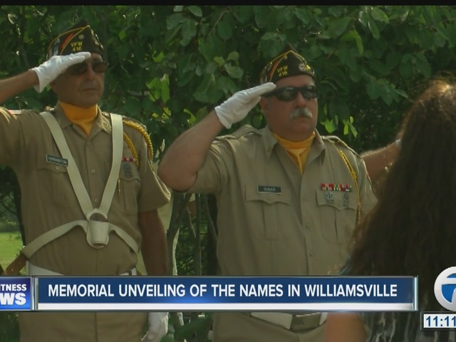 Memorial unveiling of the names in Williamsville