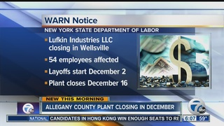 Wellsville plant to close, 54 layoffs expected