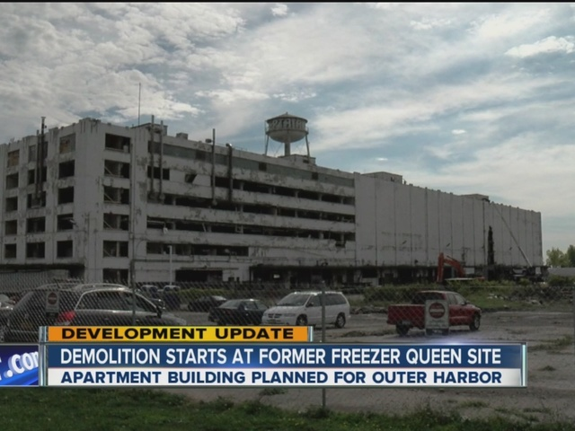 Demolition starting at Freezer Queen plant