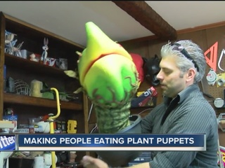 Local puppeteer creates people eating puppets