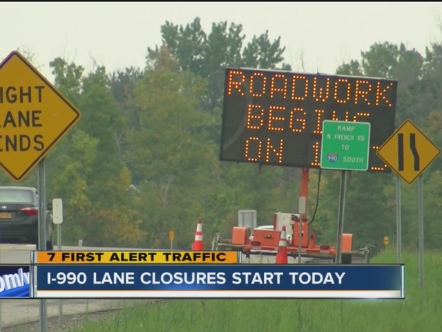 Expect delays on I-990 due to road work