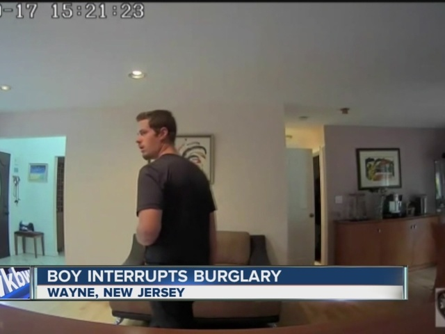 12-year-old walks in on burglar