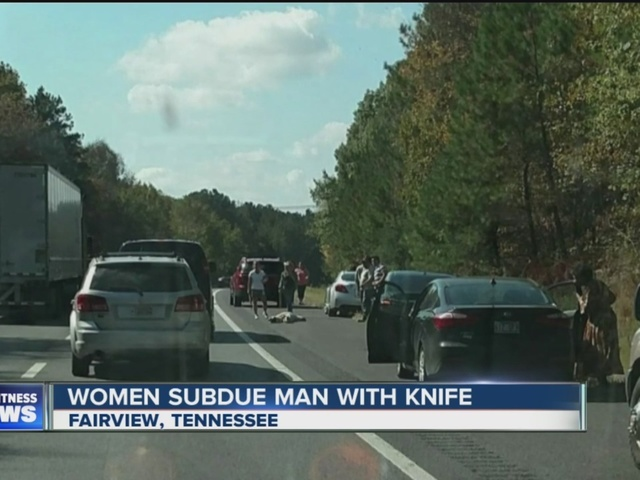 Women use tennis racket to stop man with knife