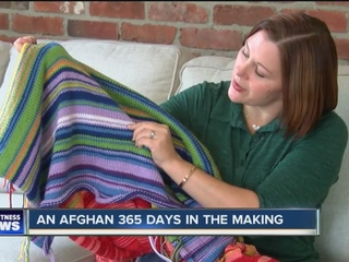 She's knitting an afghan tied to temperatures