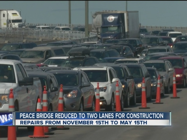 Peace Bridge reduced to two lanes until May