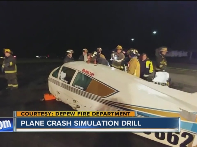 Depew firefighters practice for plane crash