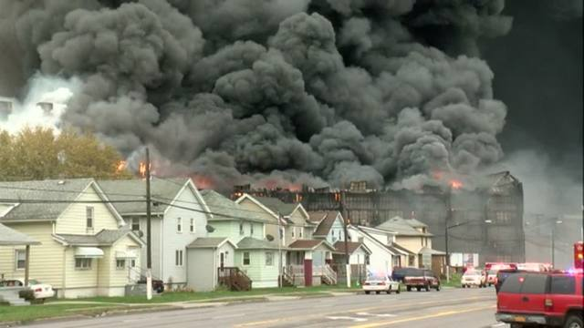 Fire contained but still burning at old NY steel mill site