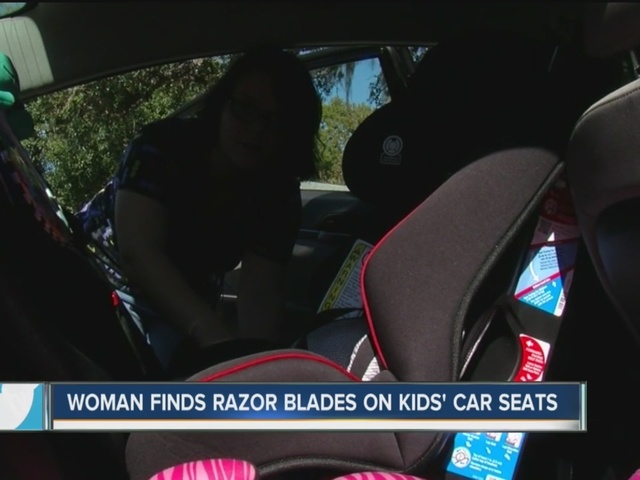 Mom says someone put razor blades on car seat