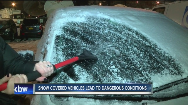 snow covered vehicles lead to dangerous driving conditions