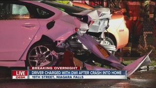 Crash into home leaves driver charged with DWI