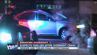 Suspects take off after overnight crash
