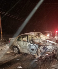 Two car crash in LeRoy leaves car a wreck