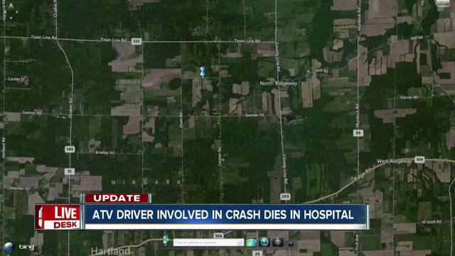 ATV driver dies in hospital after crash