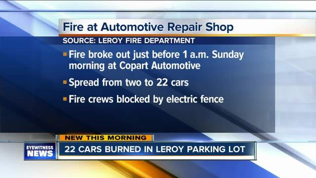 Fire spreads to 22 vehicles in LeRoy