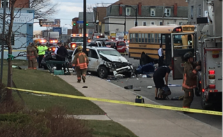 Chase leads to multi-vehicle crash involving bus
