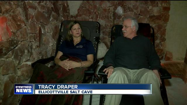Relaxing at the Ellicottville Salt Cave