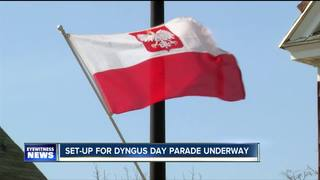 Set up for Dyngus Day Parade underway