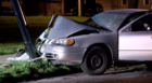 One hurt after overnight crash into pole