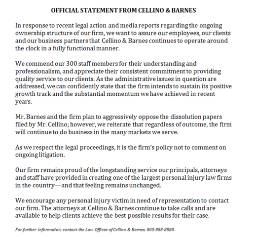 Lawsuit filed to dissolve Cellino and Barnes