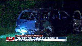 Burning SUV winds up right near playground