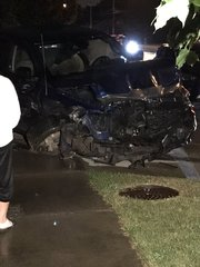 DWI suspect crashes into cars and home