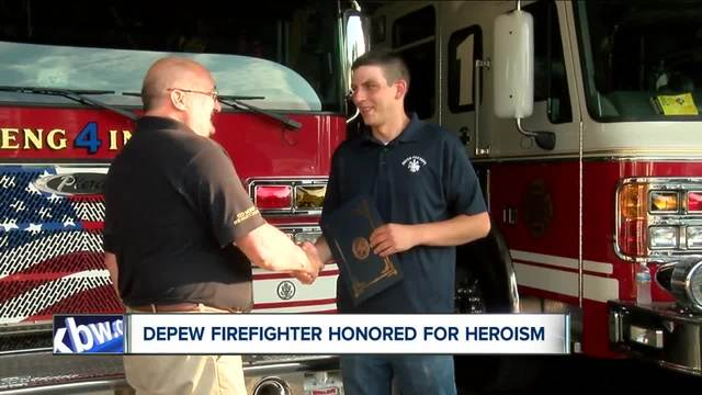 Volunteer Depew firefighter honored for saving lives