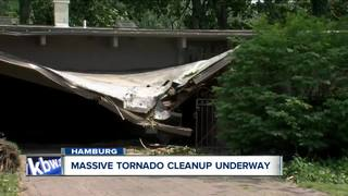 Massive tornado cleanup underway in Hamburg