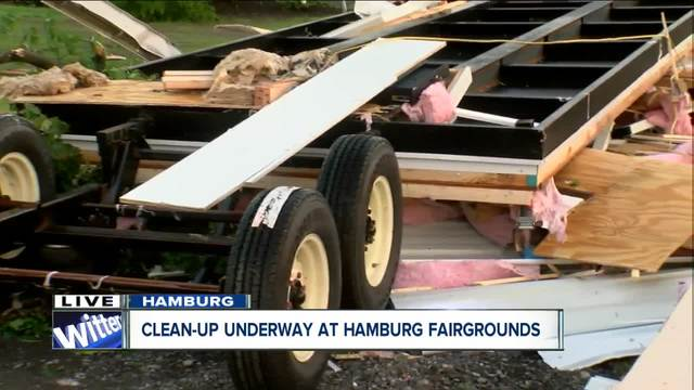Debris collects at Hamburg Fairgrounds