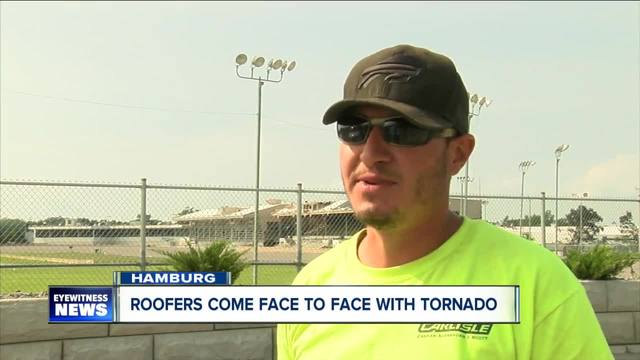 Roofers come face to face with tornado