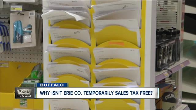 Why isn-t Erie Co- sales tax free during back to school shopping-