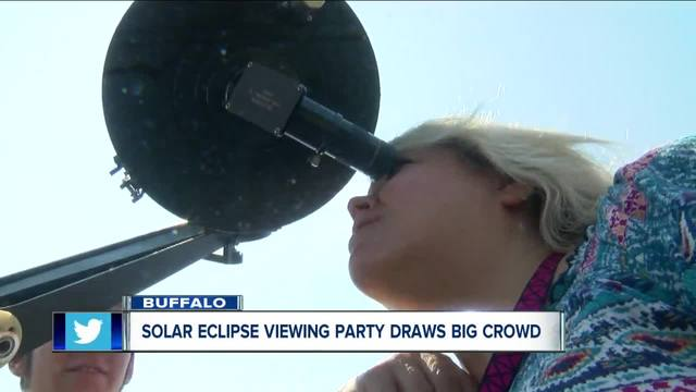 Solar Eclipse Viewing Party Draws in a Large Crowd