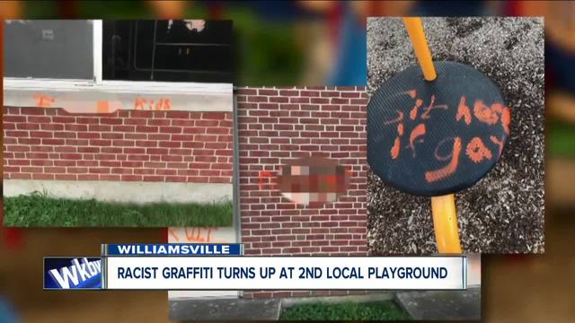Racist- homophobic graffiti covers Williamsville playground