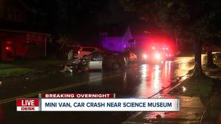 Heavy damage after crash near science museum