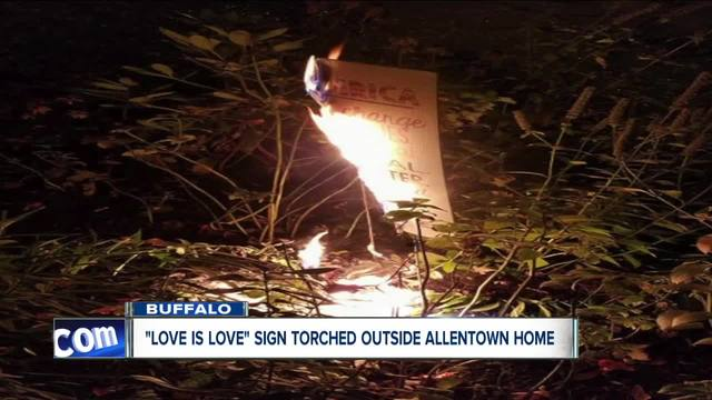 Sign torched outside of Allentown home