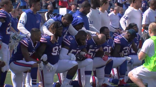 Several Bills players protest during Sunday-s national anthem