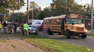 Young students shaken up after school bus crash